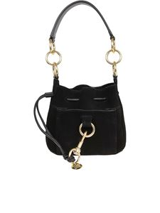 See by Chloé - Tony small suede bucket bag in black