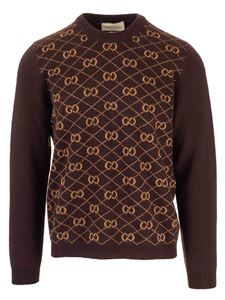 Gucci - Woolen and alpaca GG pullover in brown