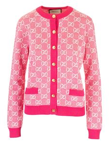 Gucci - Cotton and wool pique GG cardigan in fuchsia