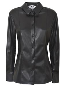 MSGM - Synthetic leather shirt in black