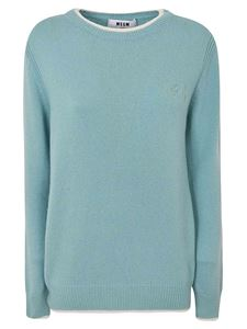 MSGM - Turquoise sweater with contrasting collar