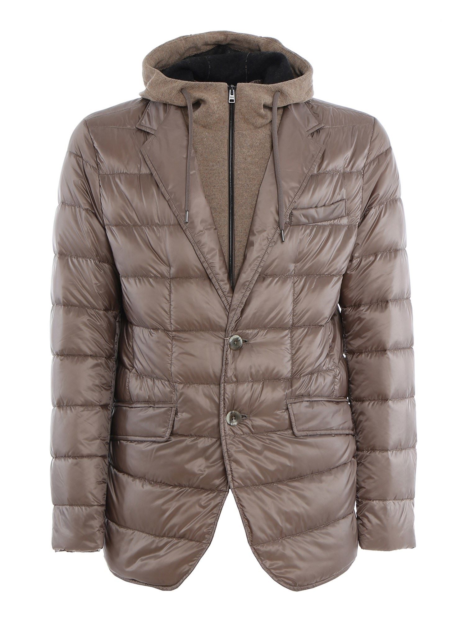Herno Downs REMOVABLE DOUBLE FRONT PADDED JACKET IN BEIGE