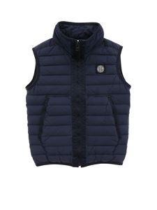 Stone Island Junior - Logo patch padded waistcoat in blue