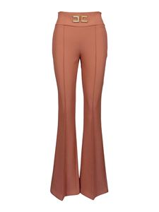 Elisabetta Franchi - Metal logo high-waisted trousers in pink