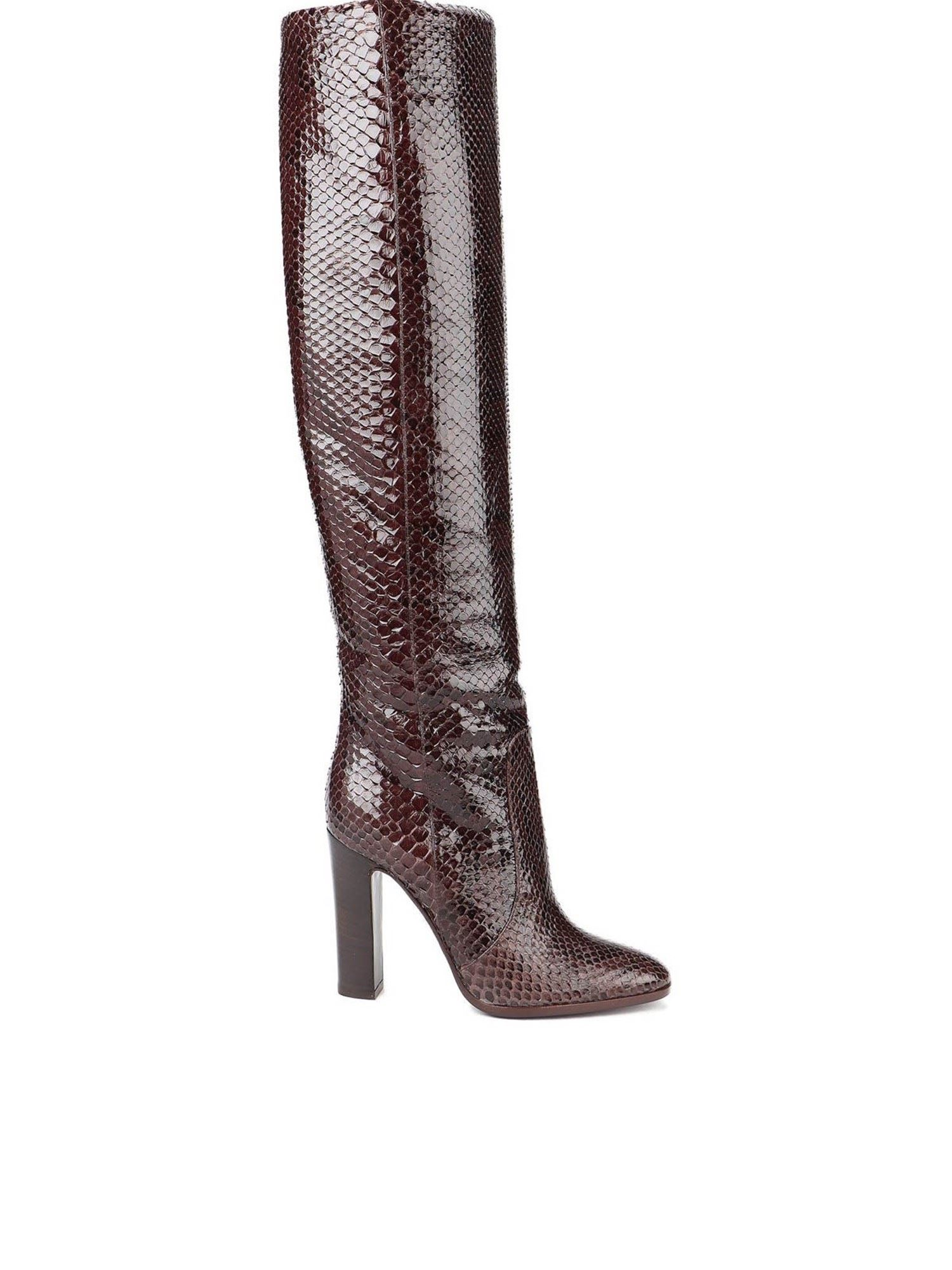 Dolce & Gabbana Leathers PATENT PYTHON LEATHER BOOTS IN BROWN
