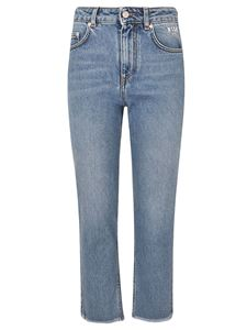 MSGM - Light blue jeans with logo embroidery