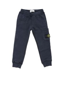 Stone Island Junior - Logo track pants in blue