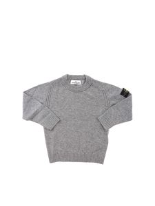 Stone Island Junior - Pullover girocollo grigio con patch removibile