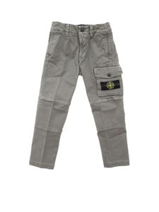 Stone Island Junior - Logo patch pants in grey