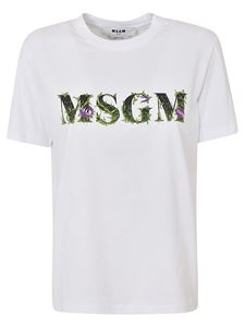 MSGM - Embroidered T-shirt in white
