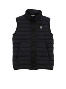 Stone Island Junior - Logo patch padded waistcoat in black