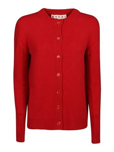 Marni - Extra long sleeve cashmere cardigan in red