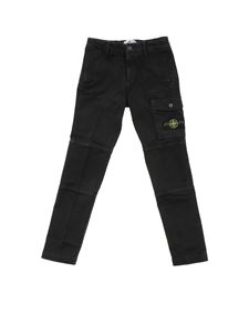 Stone Island Junior - Pantalone nero con patch logo