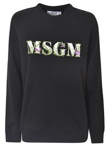 MSGM - Black sweatshirt with floral embroidery