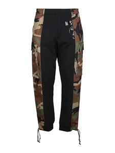 Moschino - Camouflage insert cotton trousers in black