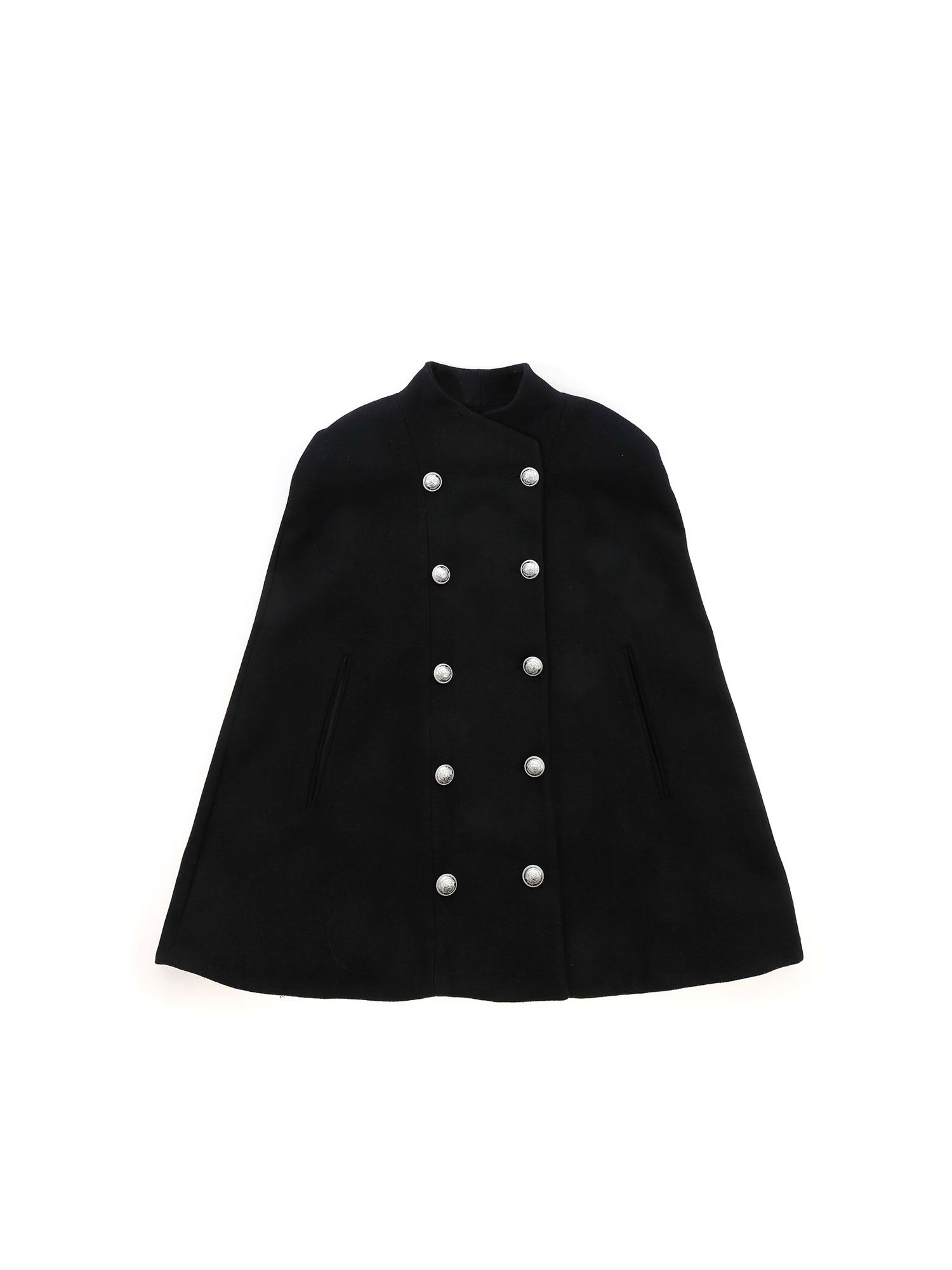 Balmain DOUBLE-BREASTED CAPE IN BLACK