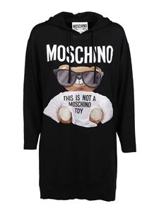 Moschino - Teddy Bear wool hooded dress in black
