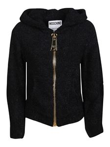 Moschino - Alpaca blend hooded cardigan in black