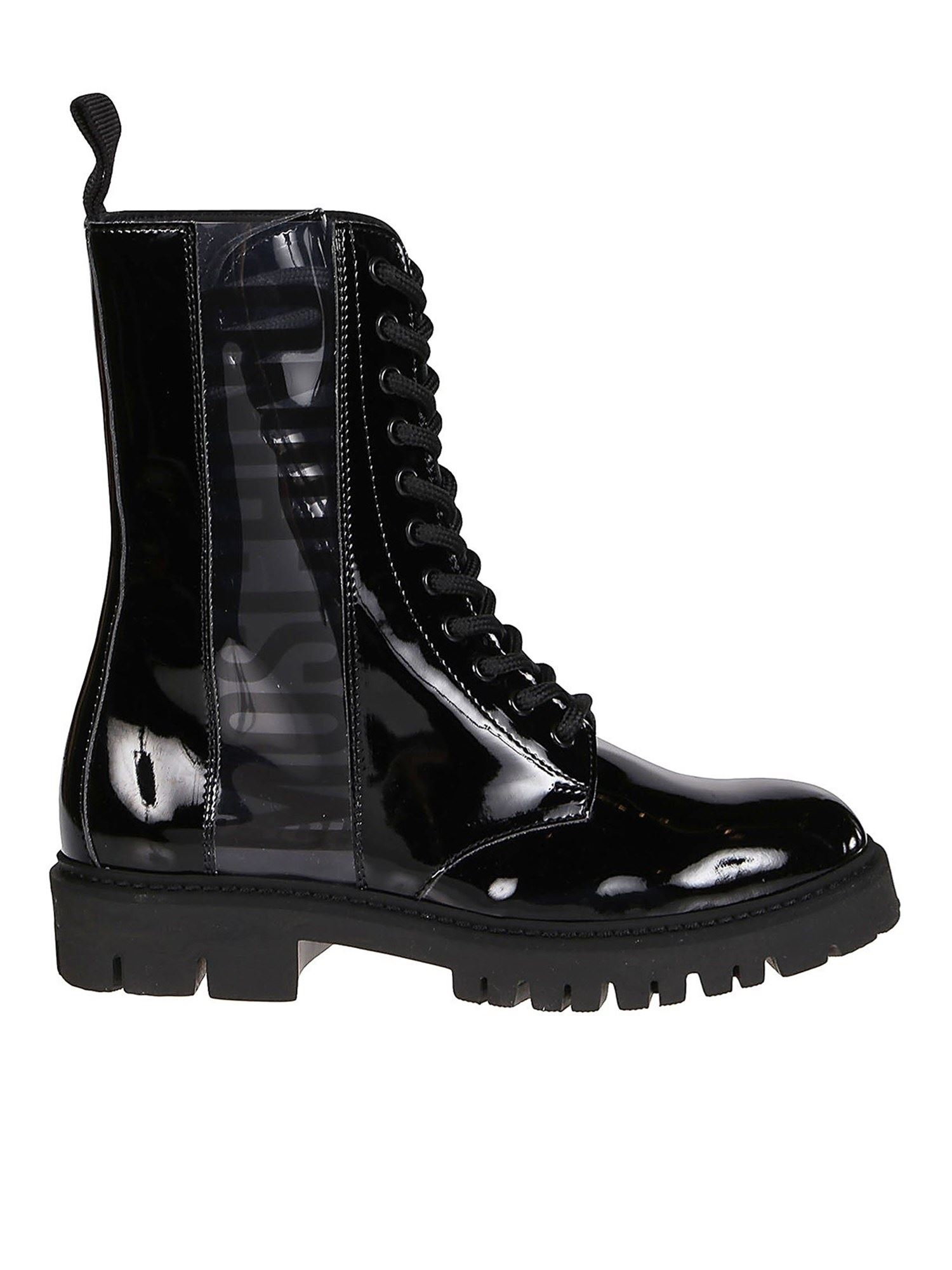 Moschino LOGO BAND ECO PATENT BOOTIES IN BLACK