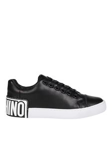 Moschino - Rubber logo patch sneakers in black