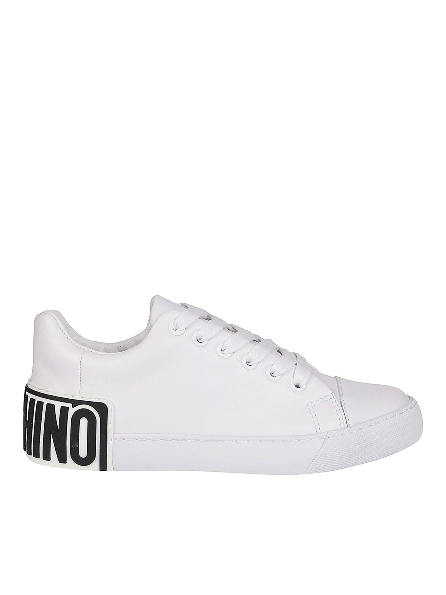 Moschino Leathers RUBBER LOGO PATCH SNEAKERS IN WHITE