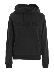 POLO Ralph Lauren - Leather logo hoodie in black
