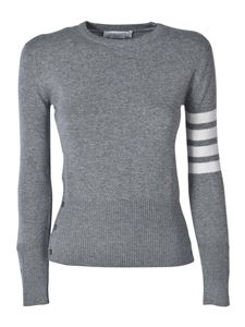 Thom Browne - Cashmere pullover in grey with white bands