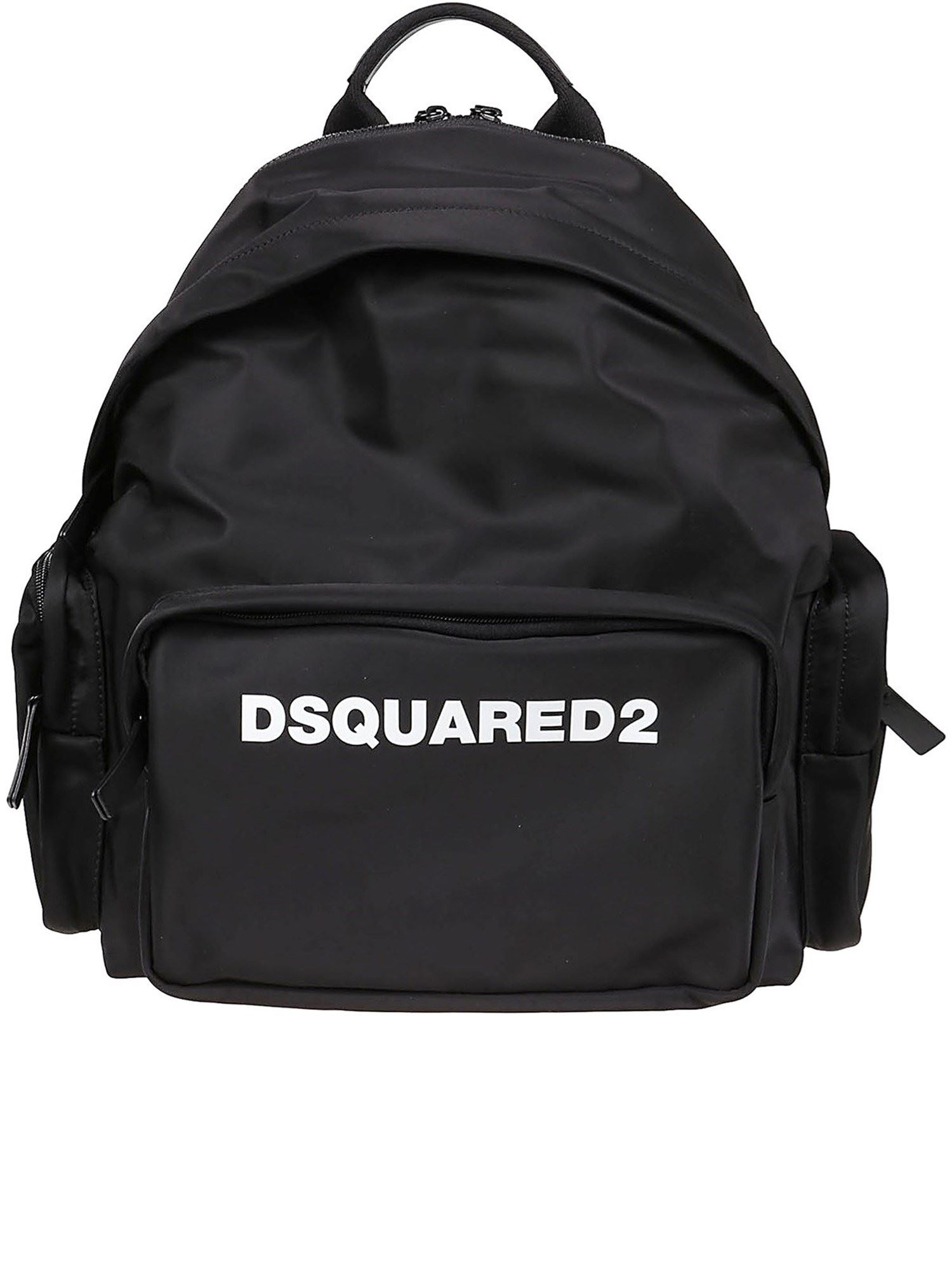 Dsquared2 Leathers LOGO PRINT BACKPACK IN BLACK