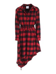 Gaelle Paris - Logo check dress in red and black