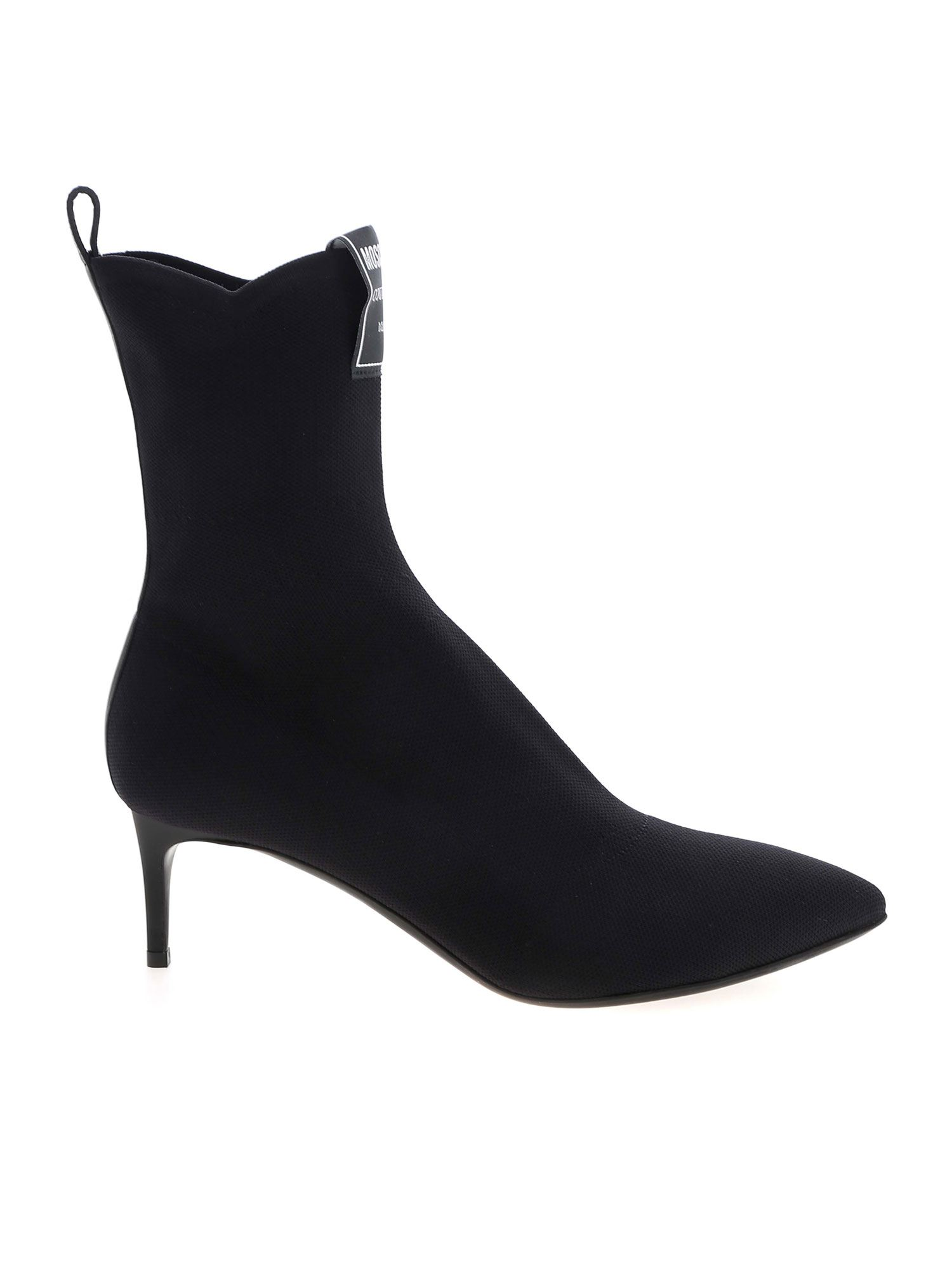 Moschino LOGO LABEL POINTED ANKLE BOOTS IN BLACK