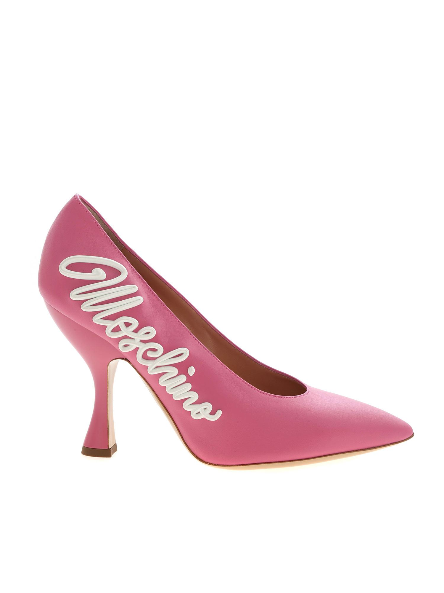Moschino 3D EFFECT LOGO POINTED PUMPS IN PINK