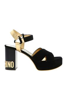Moschino - Branded heel sandals in black and gold