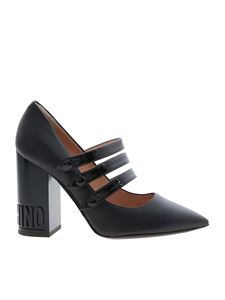 Moschino - Branded heel pointed toe pumps in black