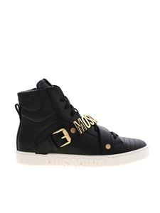 Moschino - High black sneakers featuring logo lettering