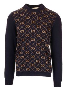 Gucci - Woolen and alpaca GG pullover in blue