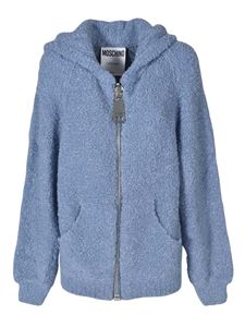 Moschino - Macro zip cardigan in pale blue color
