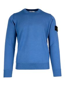 Stone Island - Light wool crewneck sweater in light blue