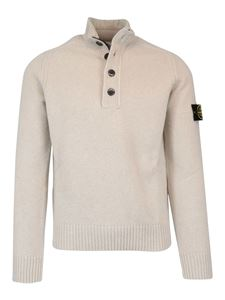 Stone Island - Wool turtleneck with zip and buttons in grey