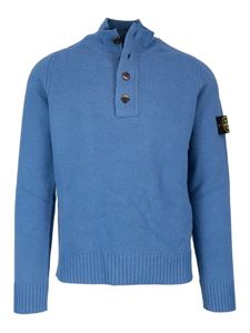Stone Island - Wool turtleneck with zip and buttons in light blue