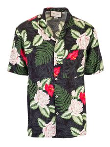Gucci - Hawaiian print bowling shirt in green