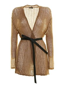 Peserico - Pointelle-knit cardigan in camel colour