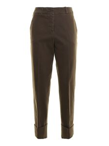 Peserico - Turn-up hems cotton trousers in brown