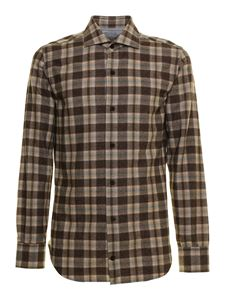 Eleventy - Checked shirt in brown