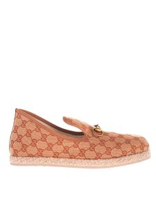 Gucci - GG moccasins in fabric in beige and brick red color