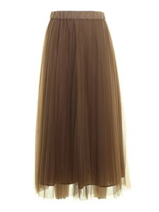 Parosh - Pleated tulle skirt in beige
