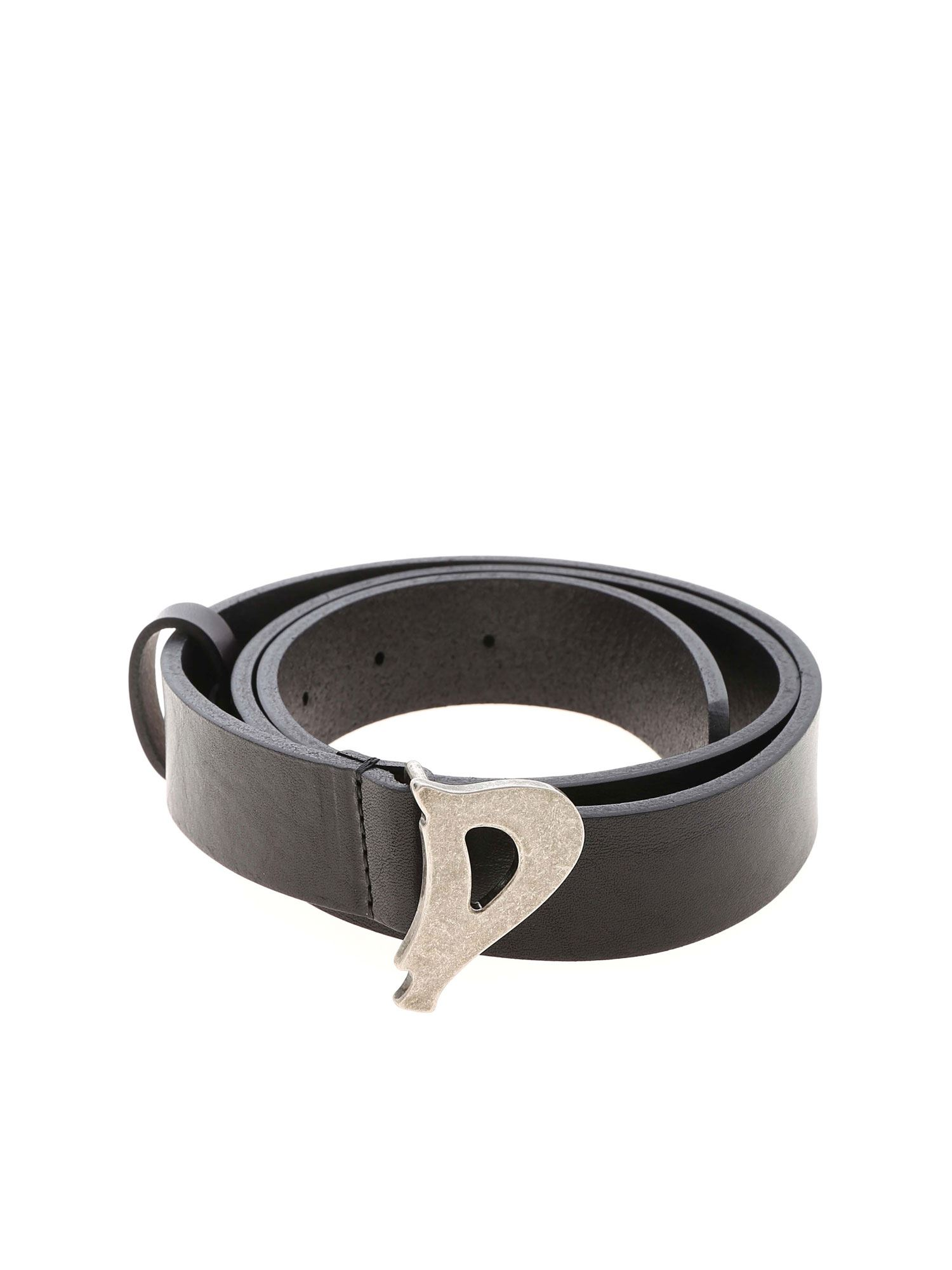 Dondup LOGO BUCKLE BELT IN BLACK