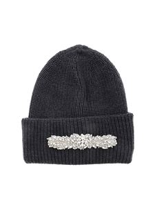 Dondup - Jewel front beanie in anthracite color