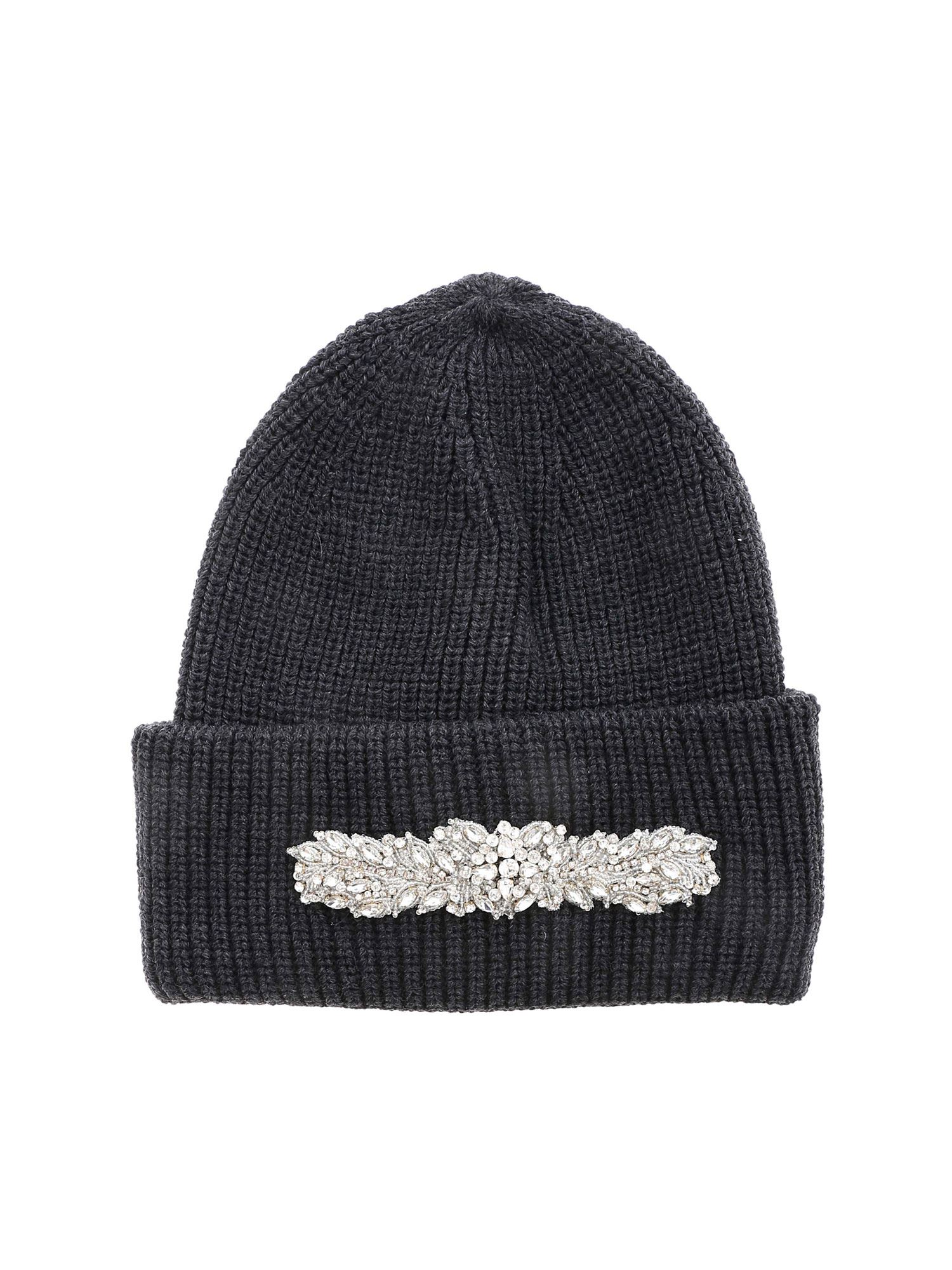 Dondup JEWEL FRONT BEANIE IN ANTHRACITE COLOR
