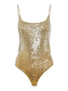 Pinko - Trophy all over sequin body in gold colour