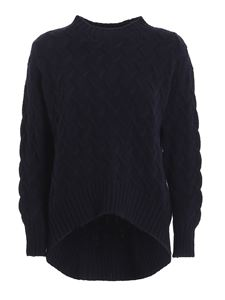 Drumohr - Cable-knit crewneck jumper in blue